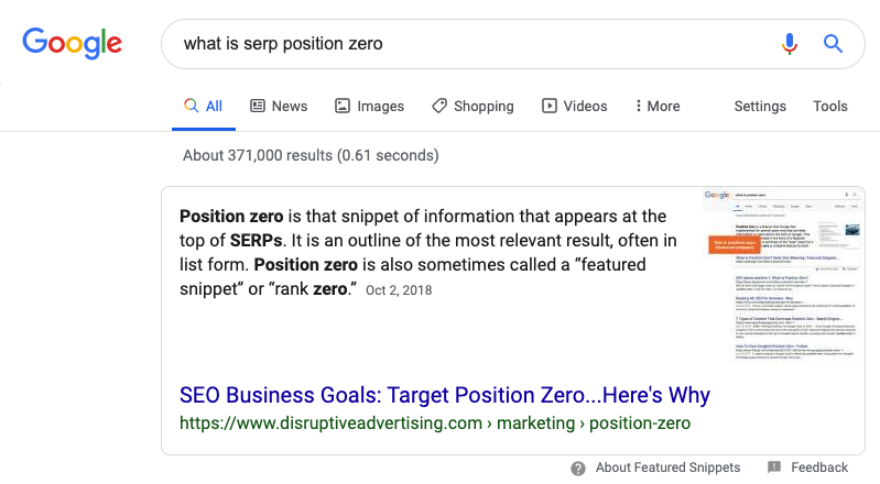 Google Results Page with Position Zero