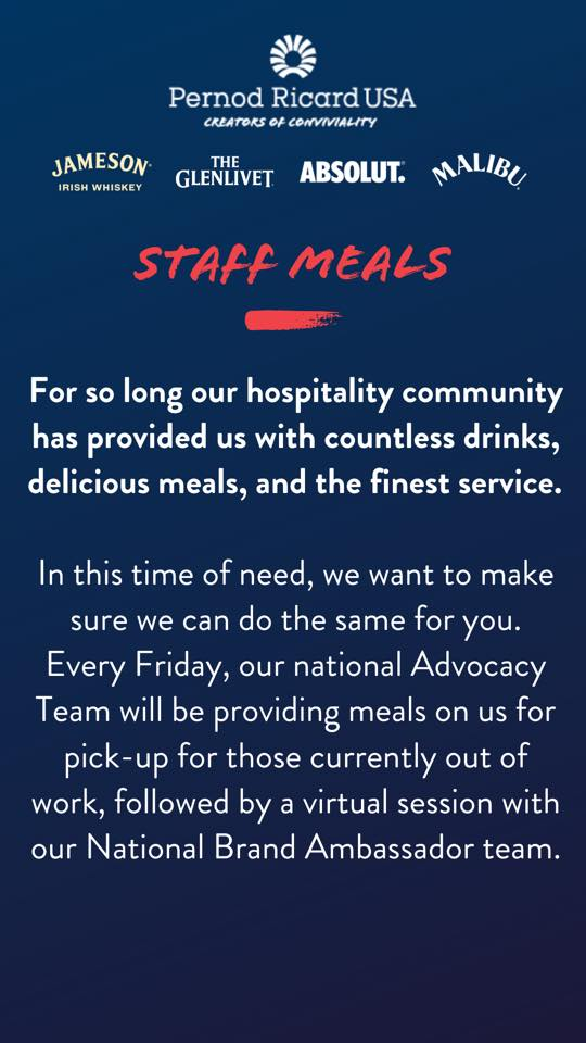Pernod Ricard USA Staff Meals Offering