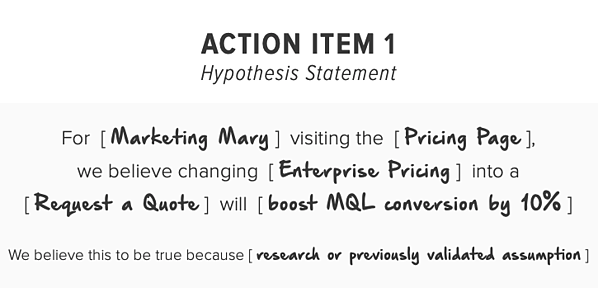Example of a Hypothesis Statement for Action Items using Growth-Driven Design