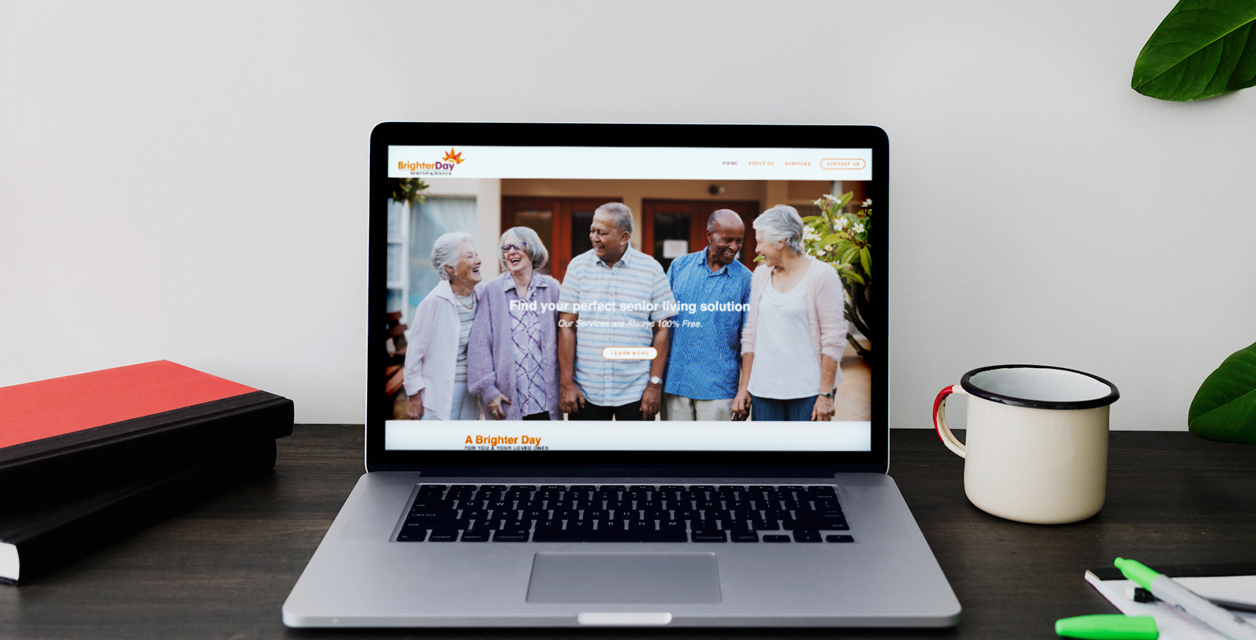 BrighterDay Senior Living Solutions laptop home page