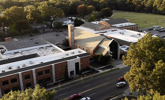st. louis catholic school from drone view